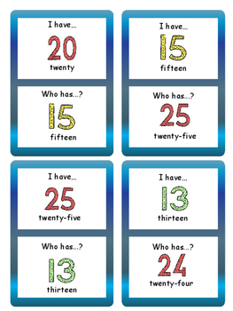 The Numbers- I have…Who has..?  Card Game-ESL Numbers Vocabulary 0-30