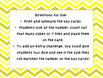The Numbers on the Bus Go Up and Down: Recognizing and Counting Numbers 1-10