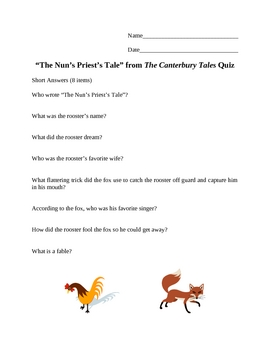 """""""The Nun's Priest's Tale"""" from The Canterbury Tales Quiz"""