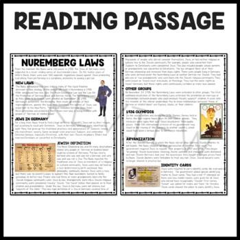 The Nuremberg Laws Reading Comprehension Worksheet, Holocaust, World War II