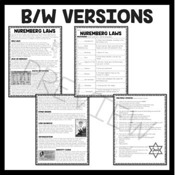 the nuremberg laws reading comprehension worksheet holocaust world war ii. Black Bedroom Furniture Sets. Home Design Ideas