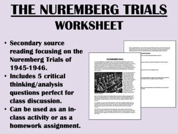 The Nuremberg Trials reading with questions - Global/World/US History/APUSH