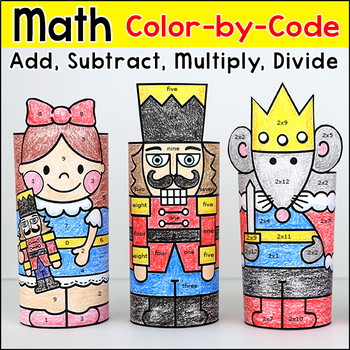 The Nutcracker Christmas Color by Number 3D Characters Craftivity
