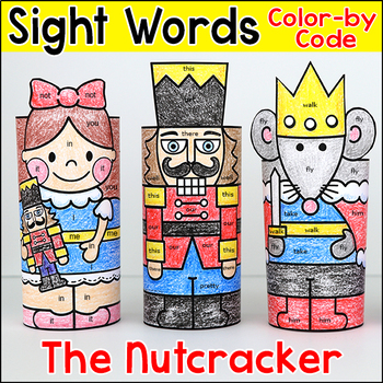 The Nutcracker Color by Sight Words 3D Characters - Christmas Craft