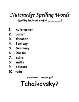 The Nutcracker Spelling Unit
