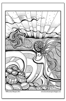 The Ocean Awakes - Printable Colouring Page for Adults and Children.