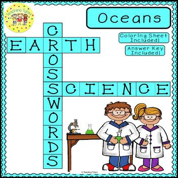 Oceans Earth Science Crossword Coloring Puzzle Worksheet Middle School