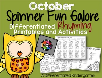 The October Spinner Bundle-Math, Letter/Sounds and Rhyming Fun Galore