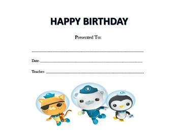 The Octonauts Birthday Certificates (Includes 6 Certificates)