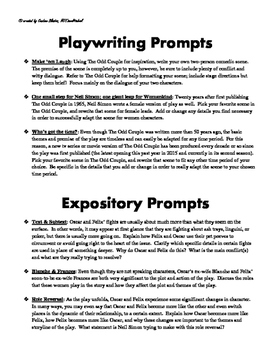 The Odd Couple Writing Prompts + Comprehension Test & Answer Key (bundled)