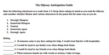 The Odyssey Anticipation Guide