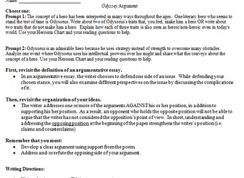 The Odyssey Argumentative Writing Assignment