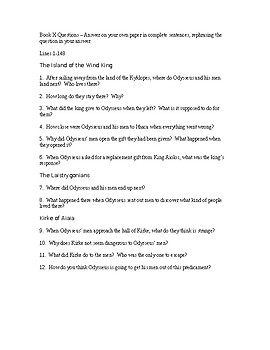 the odyssey book 10 study guide questions by everything englilish rh teacherspayteachers com odyssey part 1 study guide answer key odyssey part 1 study guide answer key