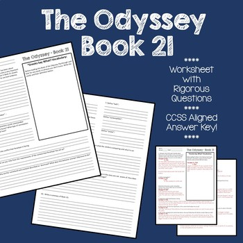 The Odyssey Book 21 - CCSS Aligned Questions (w. Answer Key)