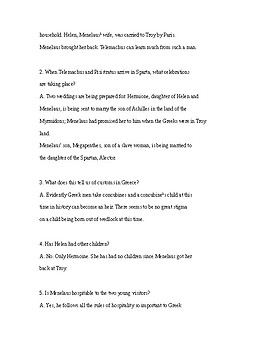 The Odyssey Book 4 Questions and Answers