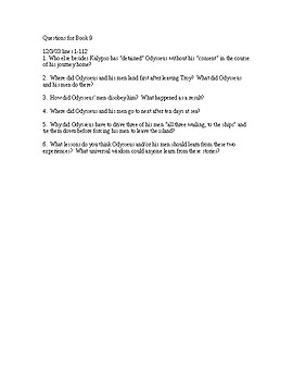 The Odyssey Book 9 Study Guide Questions