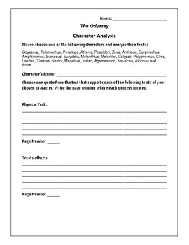 The Odyssey - Character Analysis Activity - Homer