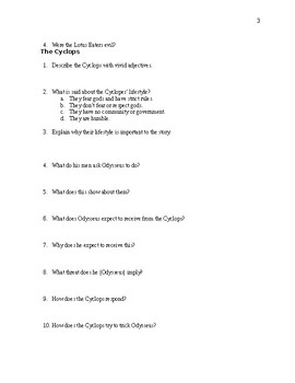 The Odyssey Comprehensive Study Guide - Over 100 Questions - CCSS Aligned