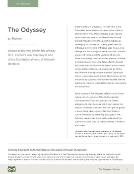 The Odyssey: Cultural Concepts in Ancient Greece Revealed Through Vocabulary