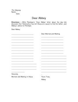 The Odyssey Dear Abbey Writing Assignment