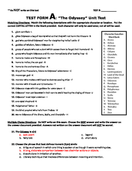 odyssey finals test teaching resources teachers pay teachers rh teacherspayteachers com The Odyssey SparkNotes Blank Study Guide Template