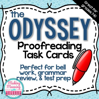 The Odyssey Task Cards - Grammar Proofreading, Warm Up, Review