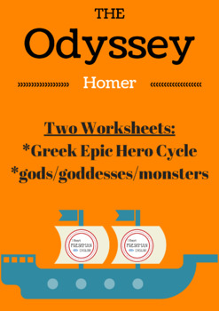The Odyssey Greek Epic Hero and gods/goddess/monster handout