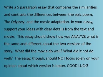 The Odyssey In-Class Essay Prompt