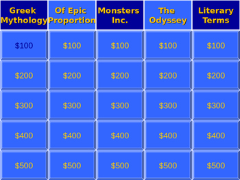 The Odyssey - Jeopardy Review / Epic Unit