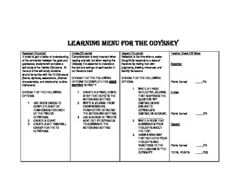 The Odyssey Learning Menu