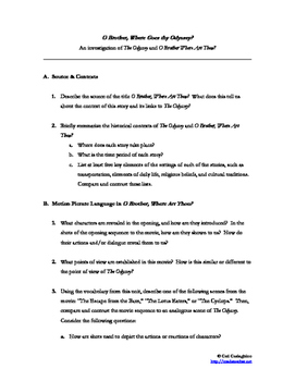 The Odyssey Lesson Plans / Exercises for Media Literacy O Brother Where Art Thou