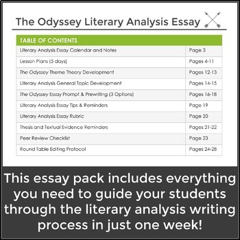 The Odyssey Literary Analysis Essay One Week Unit