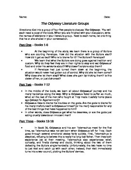 The Odyssey Literature Group Discussion Questions