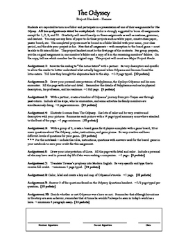 The Odyssey Major Project Handout and Rubric