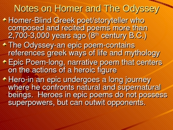 The Odyssey Notes, Vocab, and activities