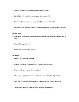 The Odyssey Part 1 Study Guide