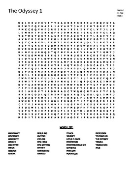 The Odyssey Part 1 Word Search