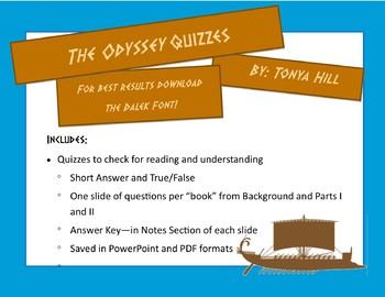 The Odyssey Quizzes