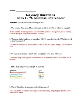 The Odyssey Reading Questions