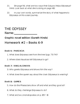 The Odyssey Reading Questions - aligned with Hinds Graphic Novel!