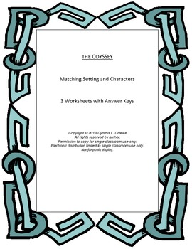 The Odyssey Setting and Characters Matching Worksheets