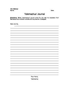 The Odyssey Telemachus' Journal Writing Assignment