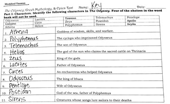 The Odyssey Test (2 Versions for Differentiated Learning)