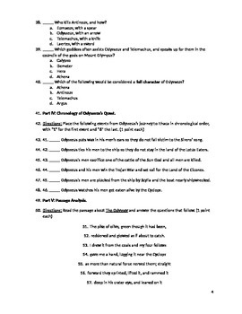 The Odyssey- Test and Answer Key