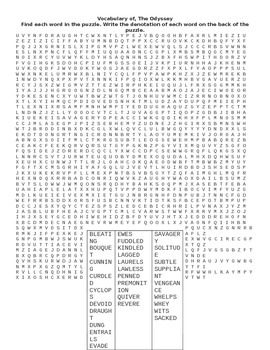 The Odyssey: Vocabulary wordsearch