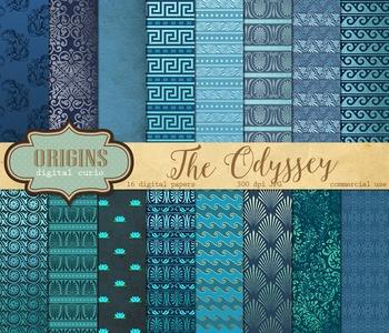 The Odyssey digital paper, greek roman backgrounds patterns