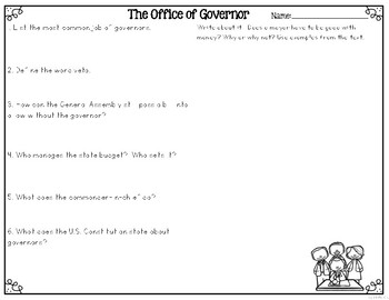 The Office of Governor Differentiated Reading Passages & Questions