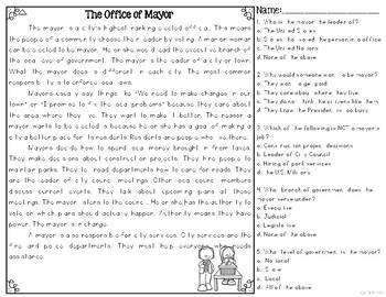 The Office of Mayor Differentiated Reading Passages & Questions