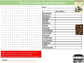 The Old Curiosity Shop Wordsearch Sheet Activity Keywords English Literature