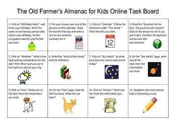 The Old Farmer's Almanac for Kids Online Task Board